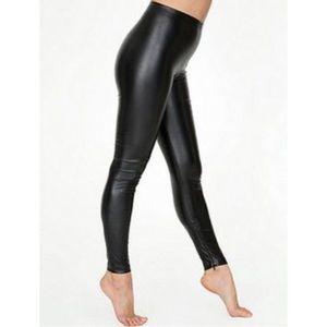 American Apparel Vegan Leather Zip Leggings NWOT
